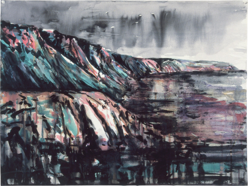 Mandy Martin Drawing for Coastal Landscape 3, 1985; pigment, enamel paint on arches paper; 56.5 x 75.6 cm; enquire