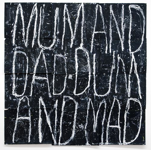 Newell Harry Anagram drawing: Mum / And / Dad / Dum / And / Mad, 2005; from the series Exhibited in 'Stolen Ritual', 2006; black gesso, oil pastel, on ironed Fabriano paper; twelve parts, overall dimensions: 226 cm x 228cm; enquire