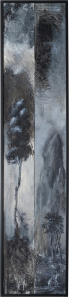 Tony Clark Two Fragmentary Sections from Clark's Myriorama with the Baptism of Jesus, 2014; oil on canvas; 135 x 31.5 cm (framed); enquire
