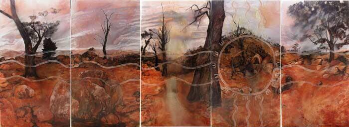 Mandy Martin and Trisha Carroll Haunted 2, 2004; ochre, pigment, oil on linen; 244 x 675 cm; enquire