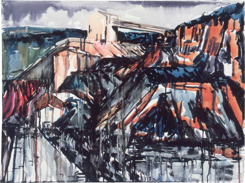 Mandy Martin Drawing for Landscape Prothesis 2, 1985; pigment, enamel paint on arches paper; 56.5 x 75.6 cm; enquire