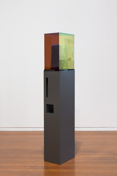 Mikala Dwyer Letterbox Clay, 2018; raw clay, acrylic, painted steel; 141 x 22 x 31 cm; enquire
