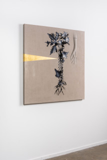 installation view; Caroline Rothwell Arrangement for The Galapagos (Pteris pedata, after Darwin), 2018; Belgian linen, PVC, 23 carat gold, hydrostone, gesso, mixed media; 107 x 107 cm; Enquire