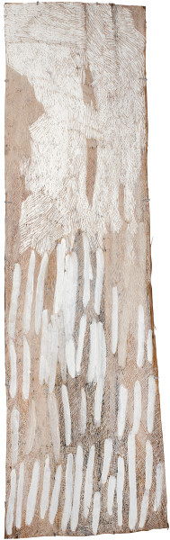 Nyapanyapa Yunupingu Lines, 2016; 2438-16; natural earth pigments on bark; 192 x 59 cm; enquire