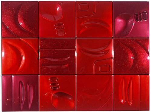 Patricia Piccinini Passionate, 2002; ABS plastic and automotive paint; 150 x 200 x 5 cm; 12 panels; enquire