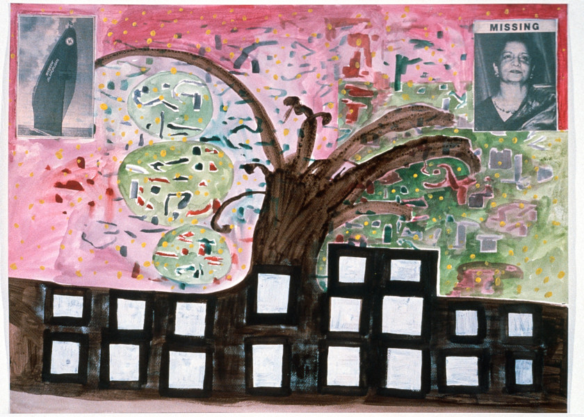 Gareth Sansom Missing, 1989; watercolour, acrylic and collage on paper; 56 x 76 cm; enquire