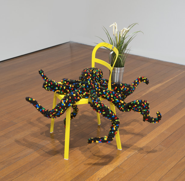 Claire Healy and Sean Cordeiro Downstairs Dining Room - Octopus, 2014; Lego, Ikea chair and plant with hanger; 75 x 98 x 79 cm; enquire