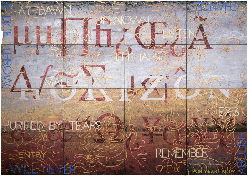 Imants Tillers Nature Speaks: E, 2005; acrylic, gouache on 16 canvasboards nos. 75922 - 75937; 101.6 x 142.4 cm; enquire