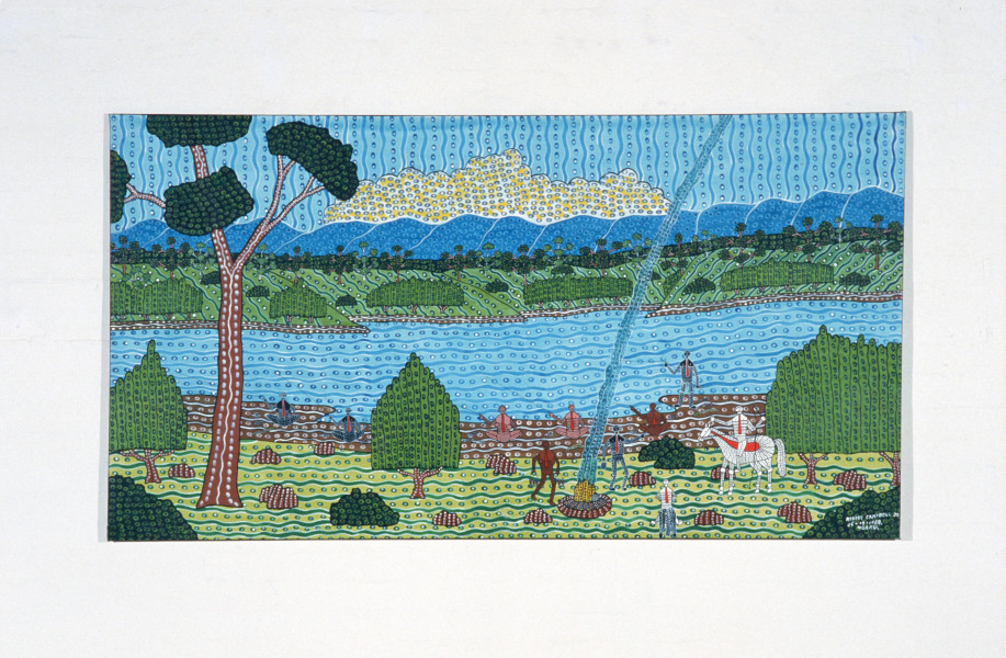 Robert Campbell Jnr Who Said You Could Fish Here?, 1988; acrylic on canvas; 121 x 226 cm; enquire