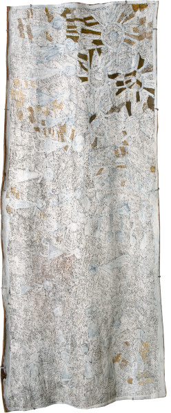 Nyapanyapa Yunupingu 2. Untitled, 2013; 4369N; natural earth pigments on bark; 215 x 88 cm; enquire