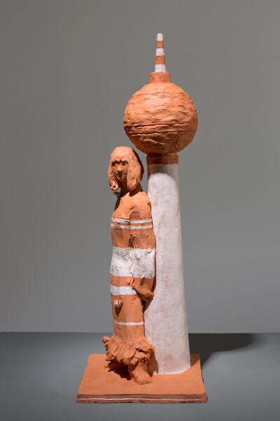 Linda Marrinon Woman with Fernsehturm, 2018; terracotta; 40 x 14 x 15 cm; enquire