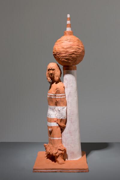 Linda Marrinon Woman with Fernsehturm, 2018; terracotta; 40 x 14 x 15 cm; enquire
