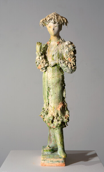 Linda Marrinon Woman with exaleiptron, 2016; terra cotta, plaster and watercolour; 60 x 18 x 17 cm; enquire