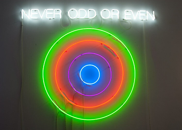 Newell Harry Circle/s in the Round: NEVER ODD OR EVEN, 2010; neon; 135 x 160 x 5 cm; Edition of 5 + AP 2; enquire
