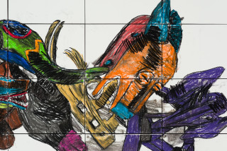 Pierre Mukeba (Intensely Masked Dolphin) (detail), 2021; charcoal and pastel on archival paper; 120 x 210 cm; enquire