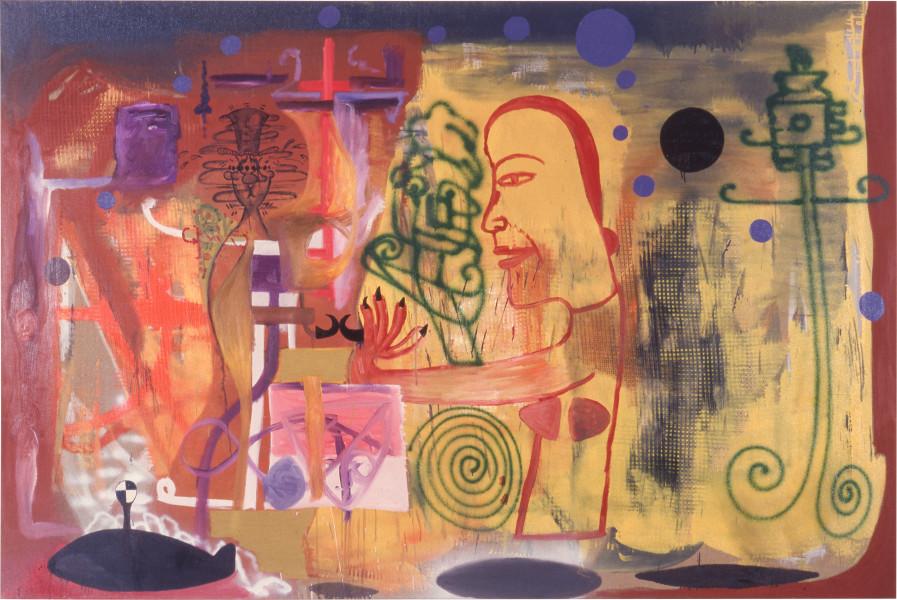 Gareth Sansom Divorce, 1989; oil and enamel on linen; 167.6 x 259 cm; enquire
