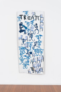 installation view; Dhambit Munuŋgurr Treaty, 2021; 1468-21; earth pigments and acrylic on bark; 234 x 100 cm; enquire