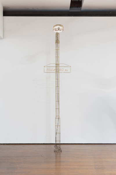 Marley Dawson Public furniture - Frankford Av (light/ladder), 2018; brass, silver solder and light bulb; 303 x 70 x 120 cm; Enquire