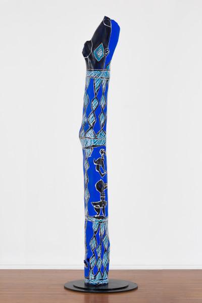 Dhambit Munuŋgurr Blue Bäru, 2020; 2078-20; acrylic on eucalyptus; 286 x 40 x 30 cm; enquire