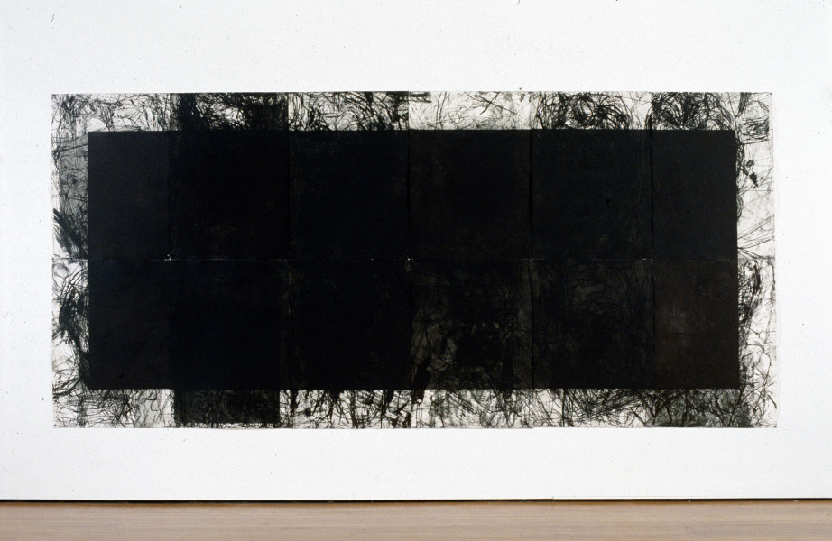 Mike Parr X Amount of Automatism Terminated By Block Part 3, 1991; drypoint and aquatint from copper and steel; 214 x 468 cm; enquire