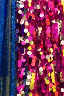 Mikala Dwyer Warning (detail), 2021; plastic, acrylic paint, fabric, sequins; 215 x 42 x 47 cm; enquire