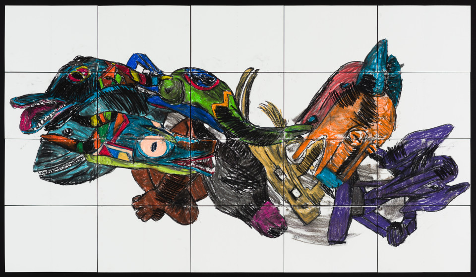 Pierre Mukeba (Intensely Masked Dolphin), 2021; charcoal and pastel on archival paper; 120 x 210 cm; enquire