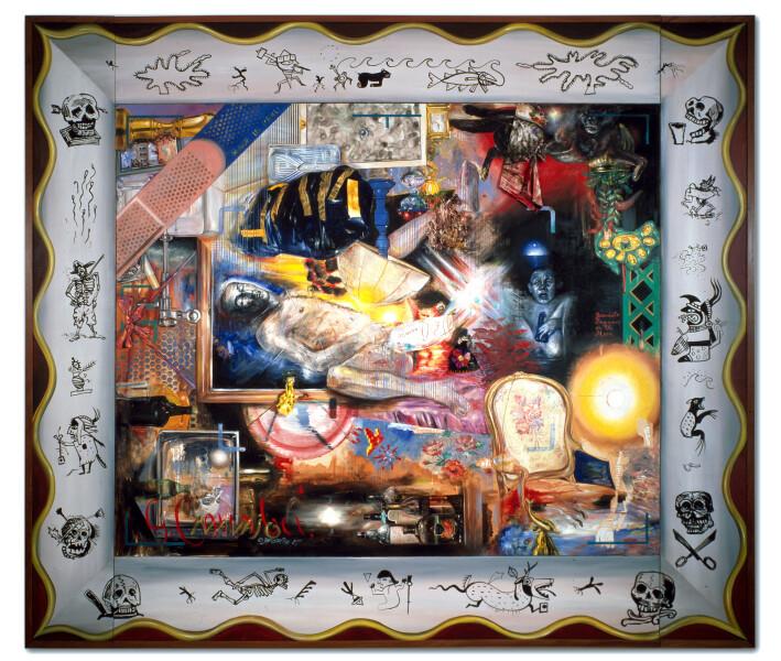 Juan Davila Graft, 1989; oil and collage on canvas; 274 x 314 cm; enquire