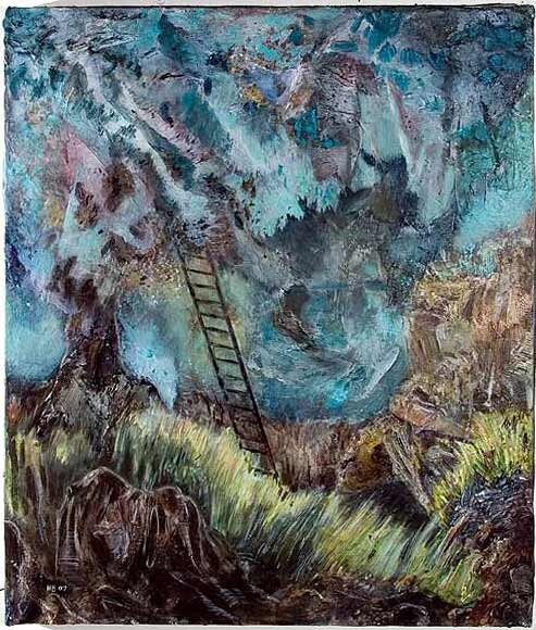 Hernan Bas The Blue tree, 2007; mixed media on linen; 61 x 50.8 cm; enquire