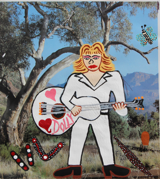 Kaylene Whiskey Dolly Parton on Country, 2020; Acrylic on found print; 25 x 20 cm; enquire