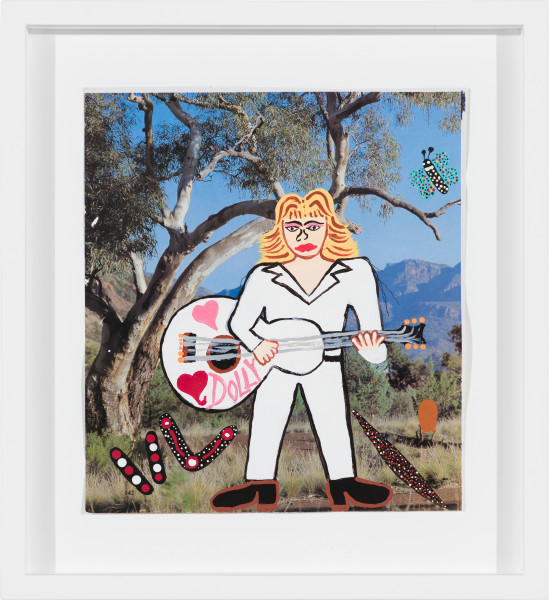 Kaylene Whiskey Dolly Parton on Country, 2020; Acrylic on found print; 22 x 20 cm; enquire