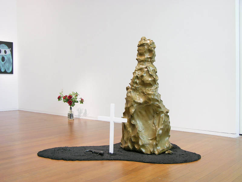 Nell Am I ever Gonna See Your Face Again?, 2004; wood, metal, bitumen, paint, lace, plaster, foam, glass bottle, artificial flowers; two parts: 140 x 140 x 190 cm and 40 x 40 x 40 cm; installation dimensions variable; enquire
