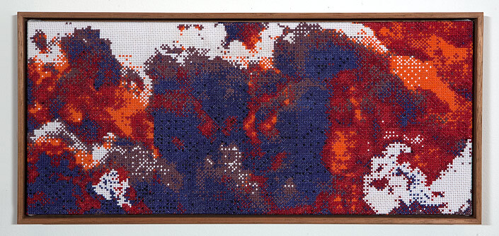 Claire Healy and Sean Cordeiro Tapestry of Disaster, Napalm  , 2012; cotton cross stitch ; 18.7 x 40.8 cm (framed); enquire