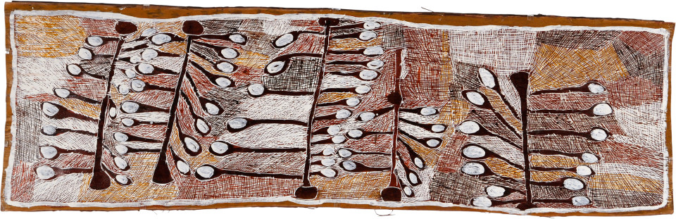 Nyapanyapa Yunupingu Wild Apple Orchard, 2008; natural earth pigments on bark; 63 x 193 cm; enquire