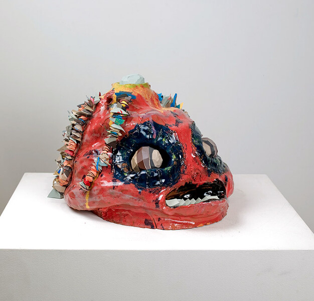 Rohan Wealleans Smile of the piranha man, 2008; ceramic, paint and string; 27 x 32 x 27 cm; enquire