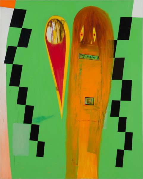 Gareth Sansom Try harder!, 2020; oil and enamel on linen; 152 x 122 cm; enquire