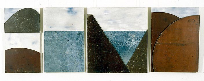 Rosalie Gascoigne Suddenly the Lake, 1995; tin, marine ply and wood; 4 panels: 129 x70cm, 129 x 79cm, 131 x 119cm, 130 x 194cm; enquire