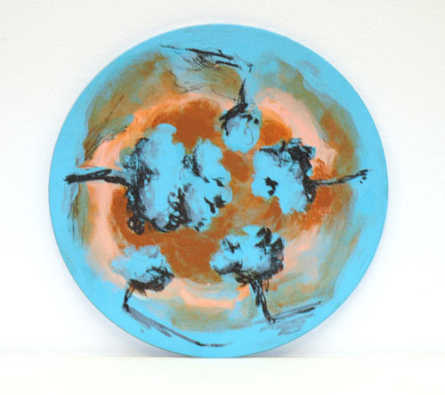 Tony Clark Landscape, 2005; acrylic and permanent ink on canvasboard; 24 cm diameter; enquire