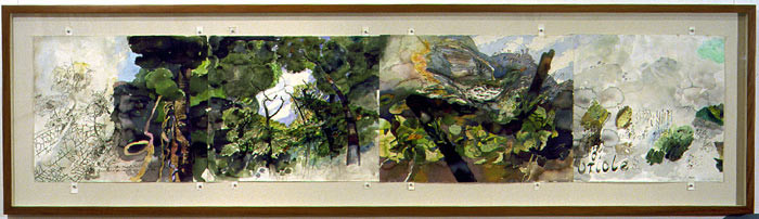 John Wolseley Rain forest canopy, olive backed oriole, 1999-00; watercolour on paper; 66 x 271 cm; enquire