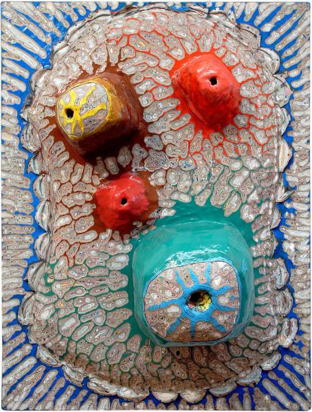 Rohan Wealleans Head, 2004; paint, plastic, polystyrene on wooden board; 160 x 120 x 50 cm; enquire