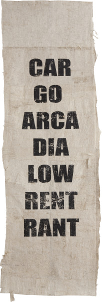 Newell Harry Untitled (CAR/GO/ARCA/DIA/LOW/RENT/RANT), 2010-12; from the series (More Mumbo Jumbo: Crackpots 'n' Poems for Ishmael Reed); Two parts: eight unique screen prints on hand-beaten Tongan Ngatu (bark cloth), ink.; Edition of 2; enquire