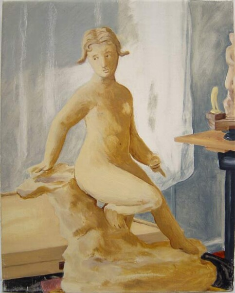 Linda Marrinon Still life with sculpture and paint box, 2000; oil on canvas; 37 x 30 cm; enquire