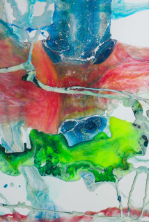 Dale Frank Pulling Out Before (detail), 2020; powder pigments in resin, epoxyglass, on Perspex; 150 x 100 cm; Enquire
