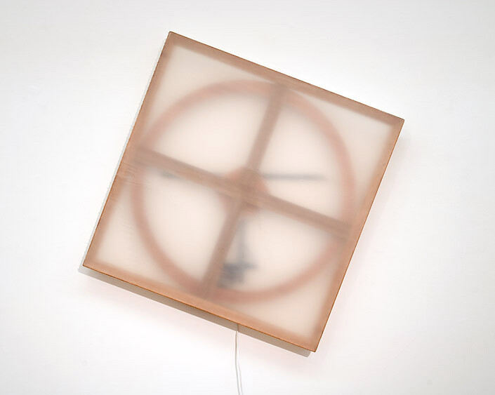 Marley Dawson Jesse, 2009; timber, mechanics, polyester resin on polyester fabric, electronics, mild steel; 105 x 105 x 6.5 cm; enquire