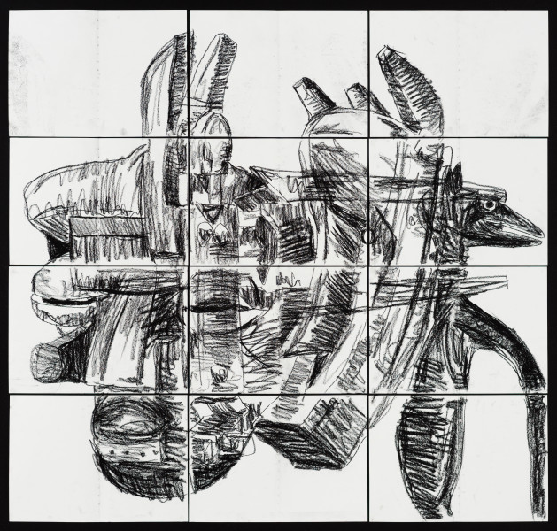 Pierre Mukeba Silent Was The Dog, 2021; charcoal on archival paper; 120 x 126 cm; enquire