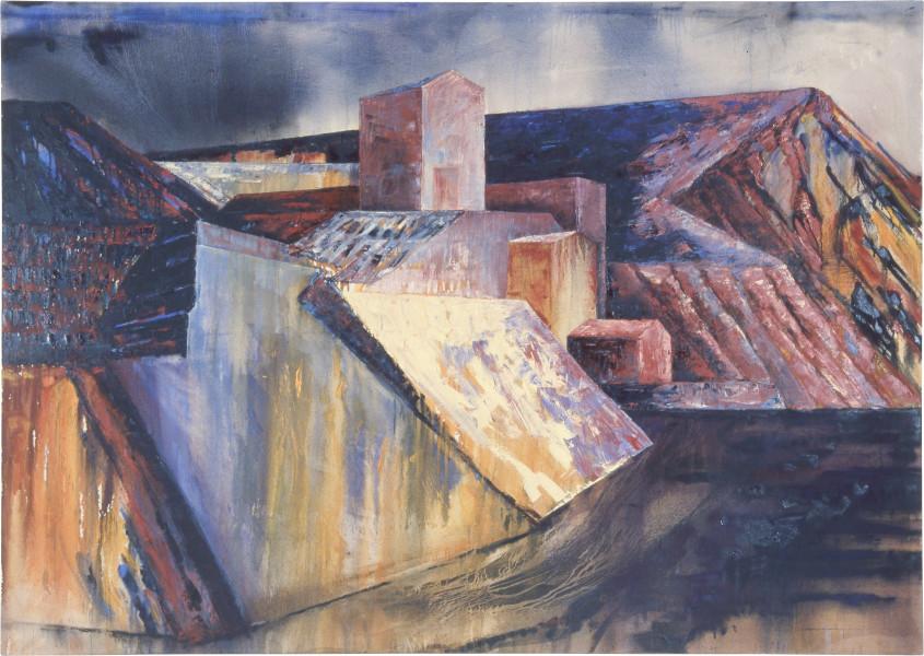 Mandy Martin Landscape Prothesis 1, 1985; oil on canvas; 170 x 240 cm; enquire