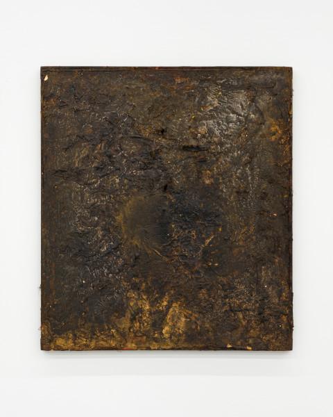 Kirtika Kain The Solar Line XXIII, 2020; Tar, gold paint, gold leaf, disused silk screen; 67 x 59 cm; enquire