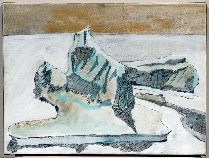 Mandy Martin Epic Fatality; Iceberg off Dunedin, New Zealand, 2007; Ochre, pigment and acrylic on arches paper; 30 x 40 cm; enquire