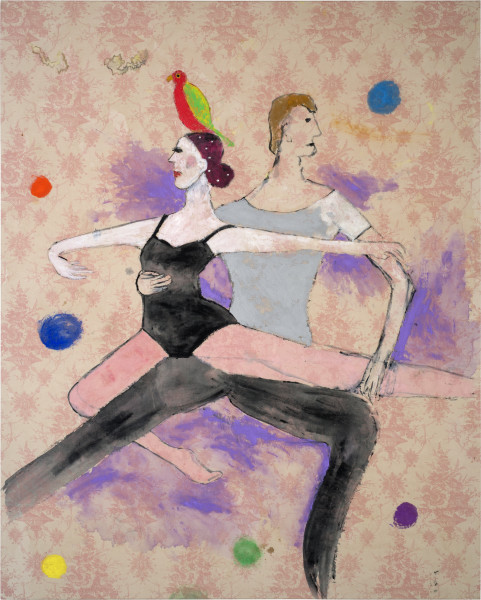 Jenny Watson A parrot atop dancers, 2014; Acrylic, Japanese pigment and diamantes on rabbit skin glue primed English printed linen ; 165 x 132 cm; enquire