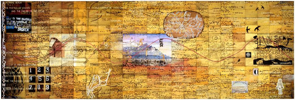Imants Tillers Lacrimae Rerum (for Dzidra), 2007; acrylic, gouache on 288 canvasboards nos. 80293 - 80580; 304.8 x 914.4 cm; enquire