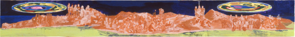 Geoff Lowe Tower Hill with Ozone Layer, 1990; synthetic polymer paint on linen; 31 x 244 cm; enquire